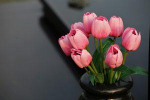 Sztuczne kwiaty w doniczce mogą wyglądać jak żywe